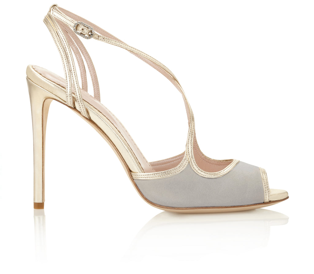 Penny Vapour Bridal Sandal by Emmy London Grey and Gold Suede and Leather Wedding Shoe High Heel