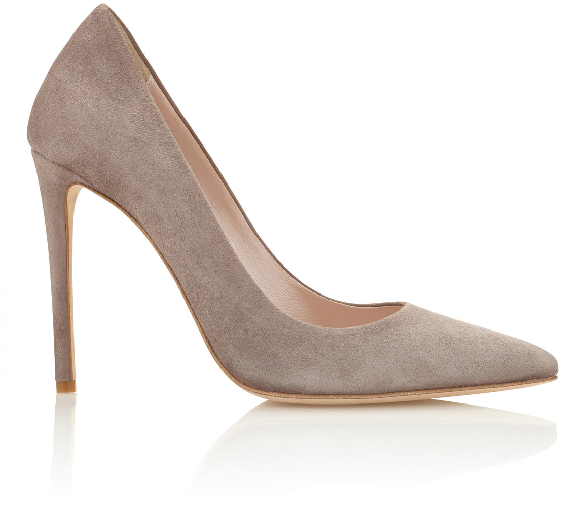 Emmy London Rebecca Pointed Court Shoe in a Warm Grey Suede