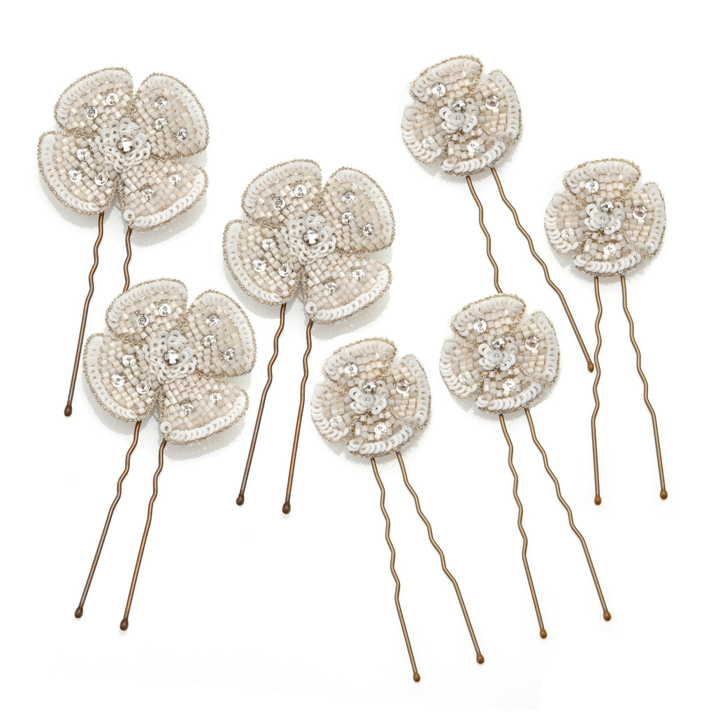Blush Secret Gardens Pins - Bridal Hair Accessories - Pins - Crystal and Ivory Sequins