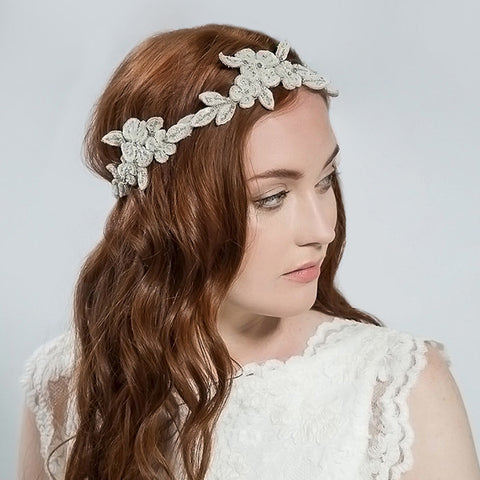 Secret Garden Halo - Bridal Hair Accessories - Halos - Ivory Sequins and Beads - Swarovski Crystal