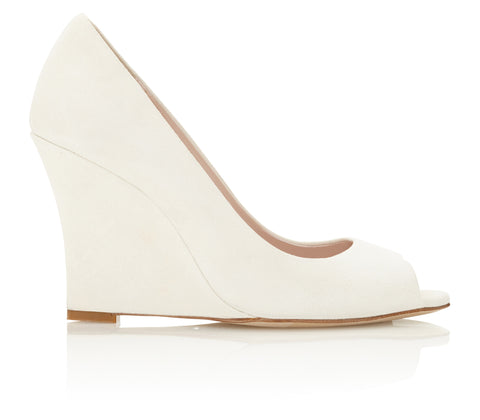Ivory Wedge Peep Toe Wedding Shoes Designed by Emmy London