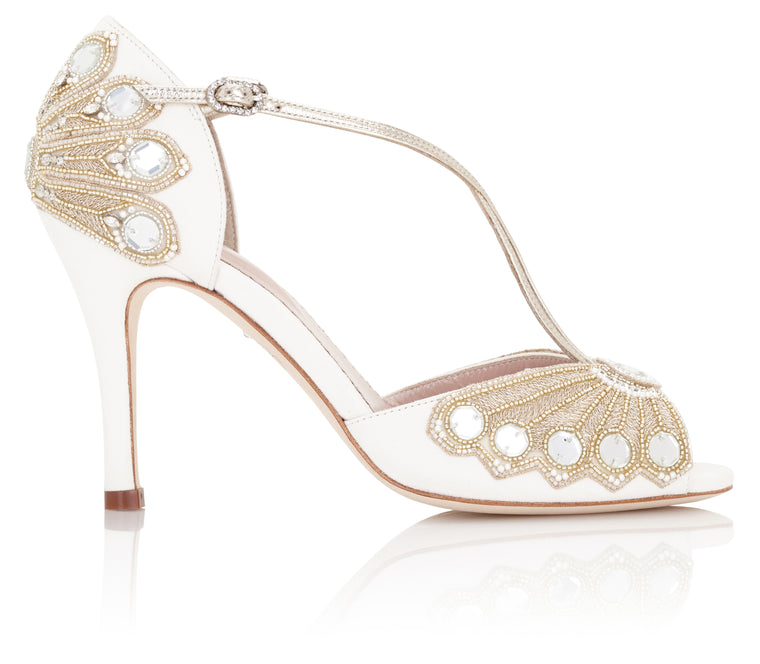 Embroidered Wedding Shoe Designed in London Created by Emmy London