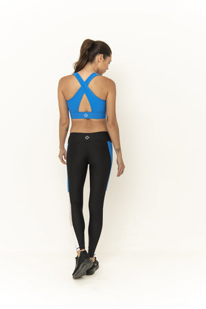 AMITY 7/8 LEGGING - ATLANTIC BLUE - WHITE MESH