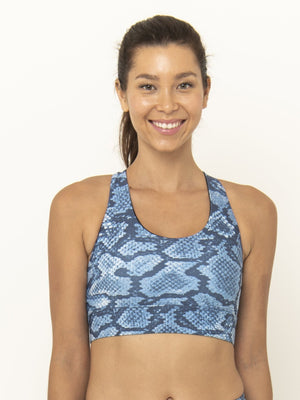 ROXY CROSS BACK BRA - INDIGO SNAKE