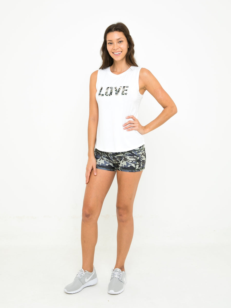 ALICE MUSCLE TANK // WHITE LOVE CAMO