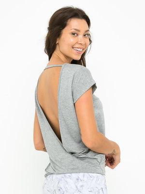 BIANCA CROSS BACK TOP // MISTY GREY