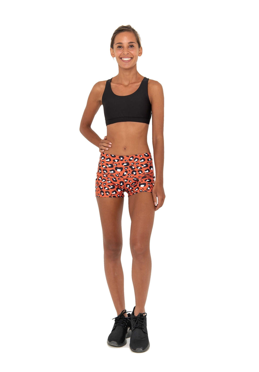 ELLA POWER SHORT - RUST LEOPARD