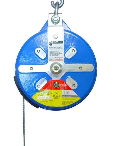 Globestock G-Guard, 500kg SWL Load Arrest Blocks from 18m to 25m galvanised steel rope, SWL 500Kg