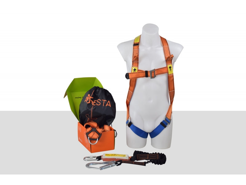 ARESTA SCAFFOLDER KIT 2S - DOUBLE POINT HARNESS - ELASTICATED WEBBING LANYARD IN PUMP BAG Ref: 296-52-14
