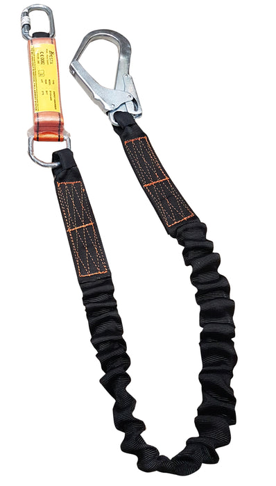 ARESTA Energy Absorbing Fixed Rope Landyard, with Scaffold hook and Carabiner - 1.8m Ref: 296-54