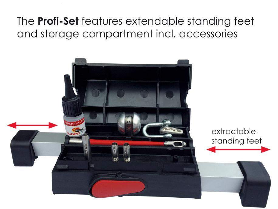 PROFI-SET Fiberglass rod with wheeled cage incl. double-outlet system 80m Ø 6mm 7 piece accessory kit