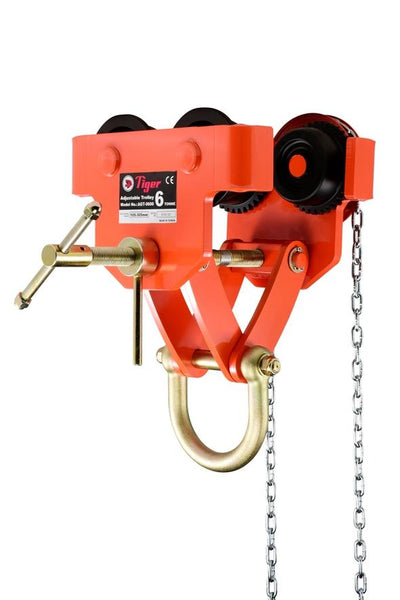 TIGER 6.0t ADJUSTABLE GEARED TROLLEY TYPE AGT (with lockable adjustment to spindle bar)