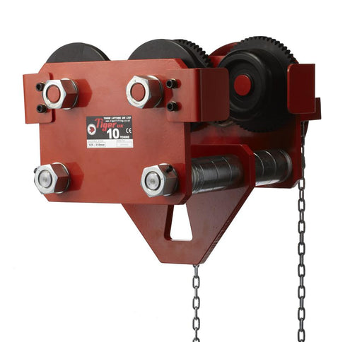 TIGER GEARED TROLLEY TYPE TPS / TPT (215-4) 10t geared trolley front, www.hoistshop.co.uk