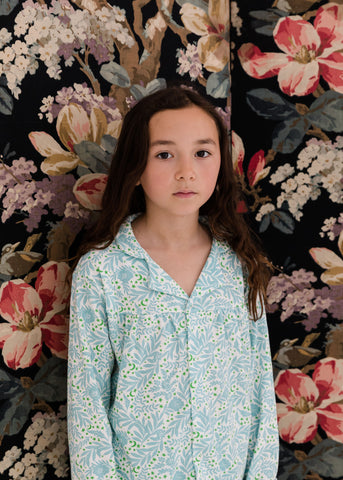 Girls Floral Classic Collar PJ Set