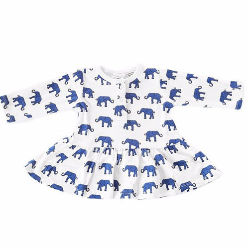 Organic Cotton Dress Long Sleeve - Elephant