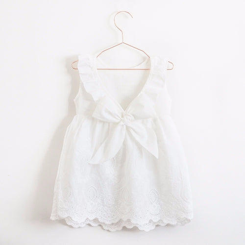 White girls cotton sundress with bow and collar embroidered