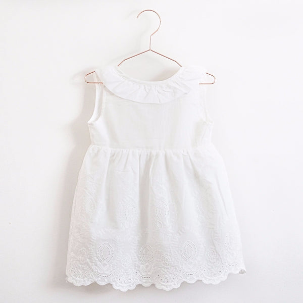 Lambkin collared cotton girls summer party sun dress with embroidered hem and bow tie back