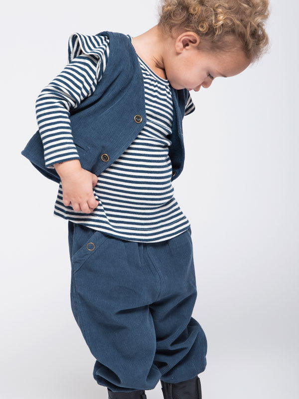 Long Sleeved Striped Baby T-shirt - Granite