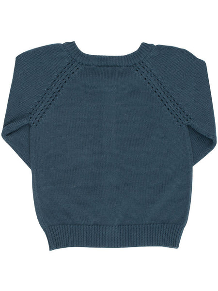 Orion Blue Organic Cotton Knit Cardigan