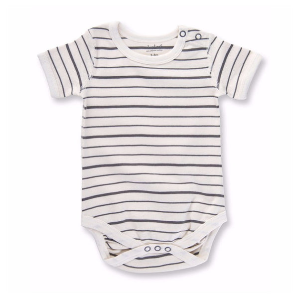 Charcoal French Stripe Short Sleeve Bodysuit