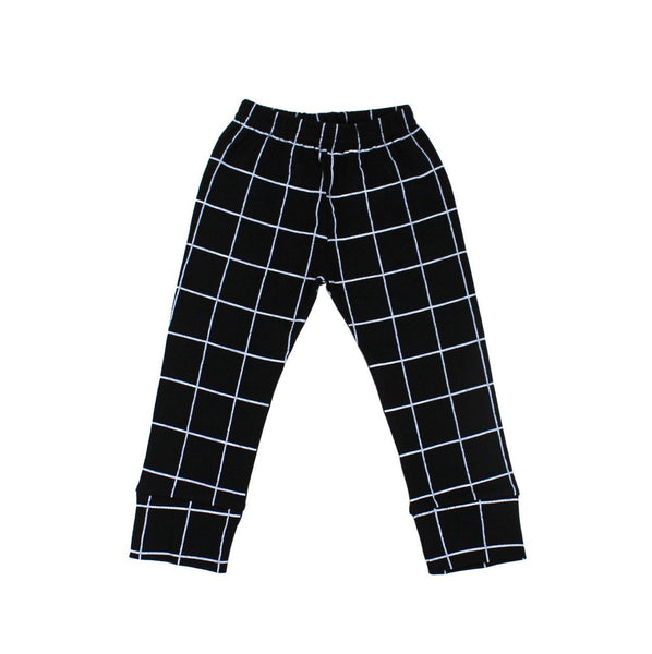 Black and White Grid Organic Leggings