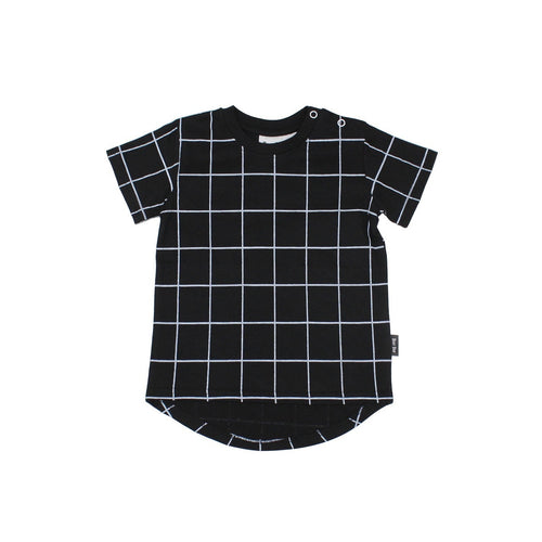 Black Grid Short Sleeve Drop Back Organic T-shirt