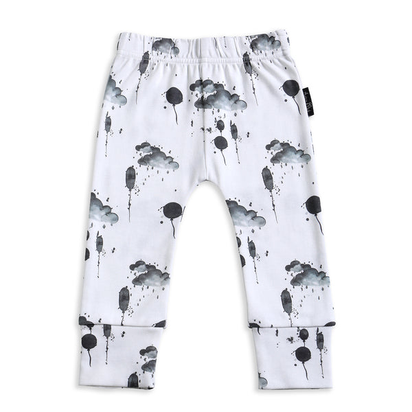 Organic cuffed black white unisex boys leggings