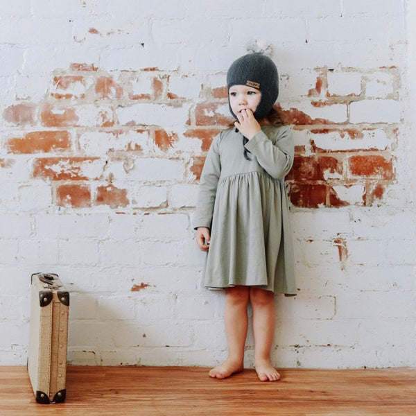 long sleeved organic cotton toddler dress buck and baa eucalyptus