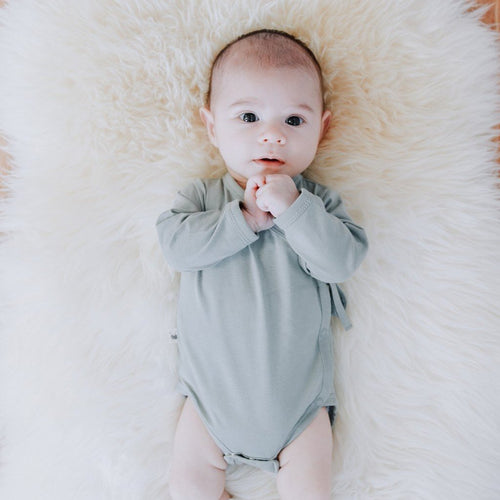 Buck and Baa organic cotton kimono romper bodysuit eucalyptus