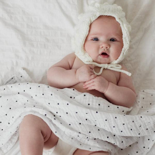 Polka Dot Muslin Swaddle