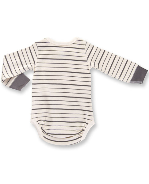 Charcoal French stripe Long Sleeve Bodysuit