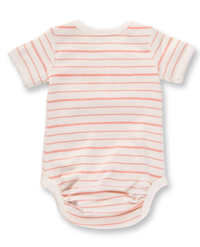 Peach French Stripe Short Sleeve Bodysuit