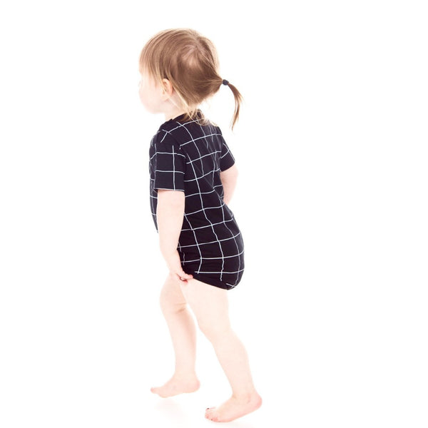 Black Grid Short Sleeve Organic Romper