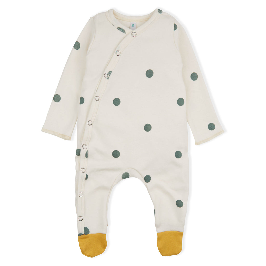 Long Sleeved Dots Sleepsuit With Contrast Feet One Left 6 12m Moose Amp Moo