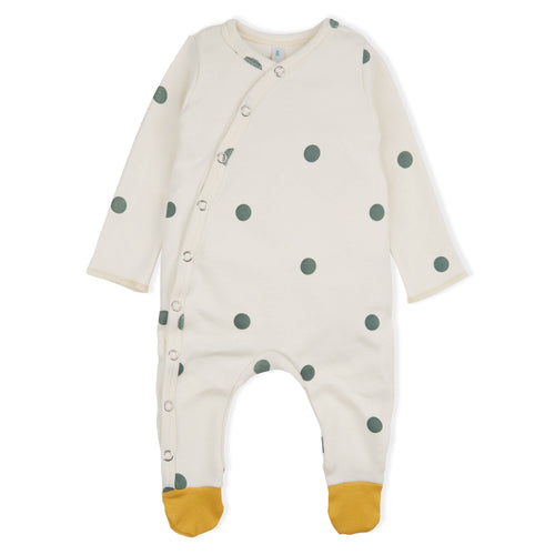 Green dot mustard footed organic bodysuit
