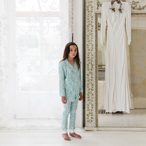 Kids Organic Cotton Collar PJ Set: Morris Floral