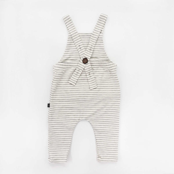 Bamboo Summer Overalls - Grey Stripes