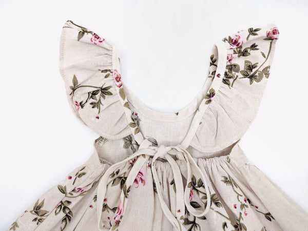 Floral linen girls dress with roses flower girls sun dress