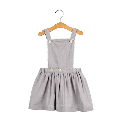 Herringbone grey pinafore dress skirt cotton