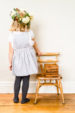 Iris Pinafore Skirt in Grey Herringbone