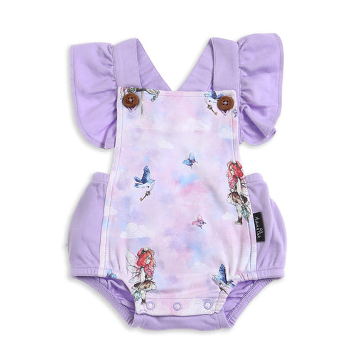 Organic cotton ruffle unicorn fairy baby romper playsuit lavender lilac