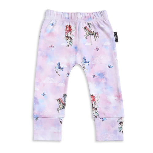 Organic baby girls unicorn fairy pastel leggings