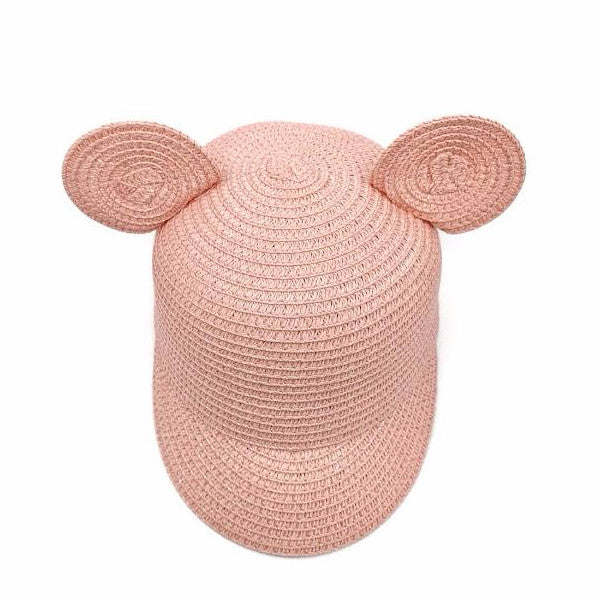 Pink straw girls kids toddler summer sun hat with bear cat ears