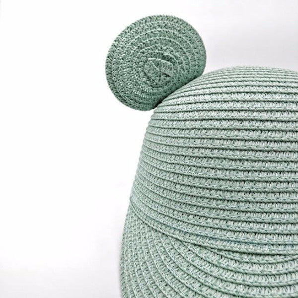 Seafoam mint green straw hat with bear cat ears for kids