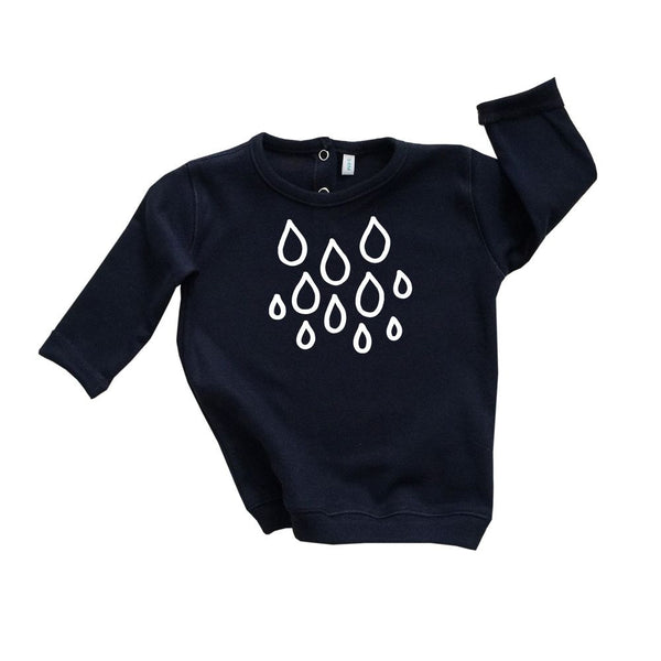 Navy Sweatshirt Rain Drops