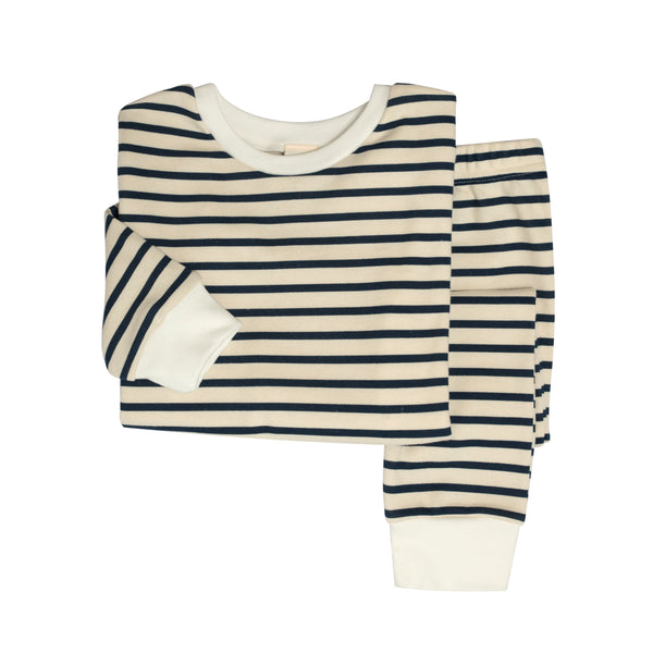 Toddler Organic Cotton Classic PJ Set: Breton Stripe