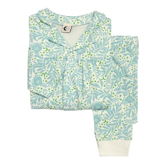 Girls Organic Cotton Collar Pyjama Set: Morris Floral