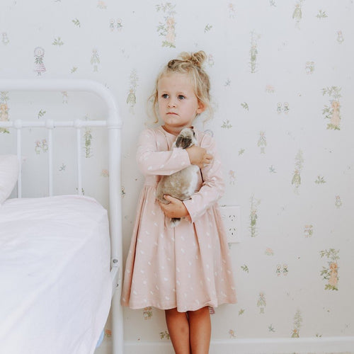 long sleeved organic cotton toddler dress pink buck and baa