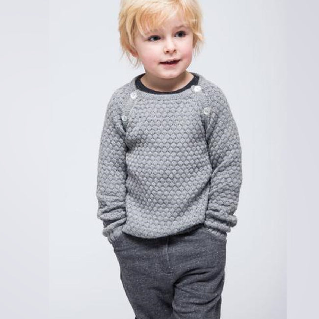 Grey - Semi Handknitted Panal Sweater