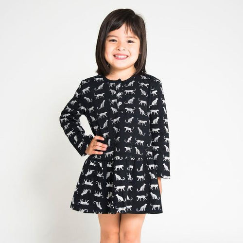 Organic Cotton Dress Long Sleeve - Leopard